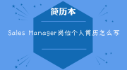 Sales Manager岗位个人简历怎么写