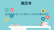 首席运营官/COO简历工作经历填写样本