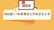 网站推广/运营简历工作经历怎么写