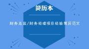 财务总监/财务经理项目经验简历范文
