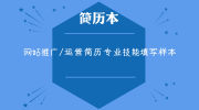 网站推广/运营简历专业技能填写样本