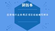 投资银行业务简历项目经验填写样本