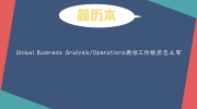 Global Business Analysis/Operations崗位工作經歷怎么寫