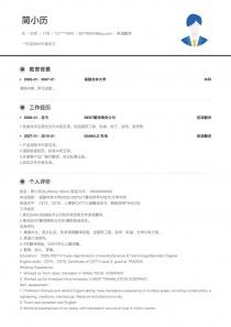 英语翻译免费简历模板
